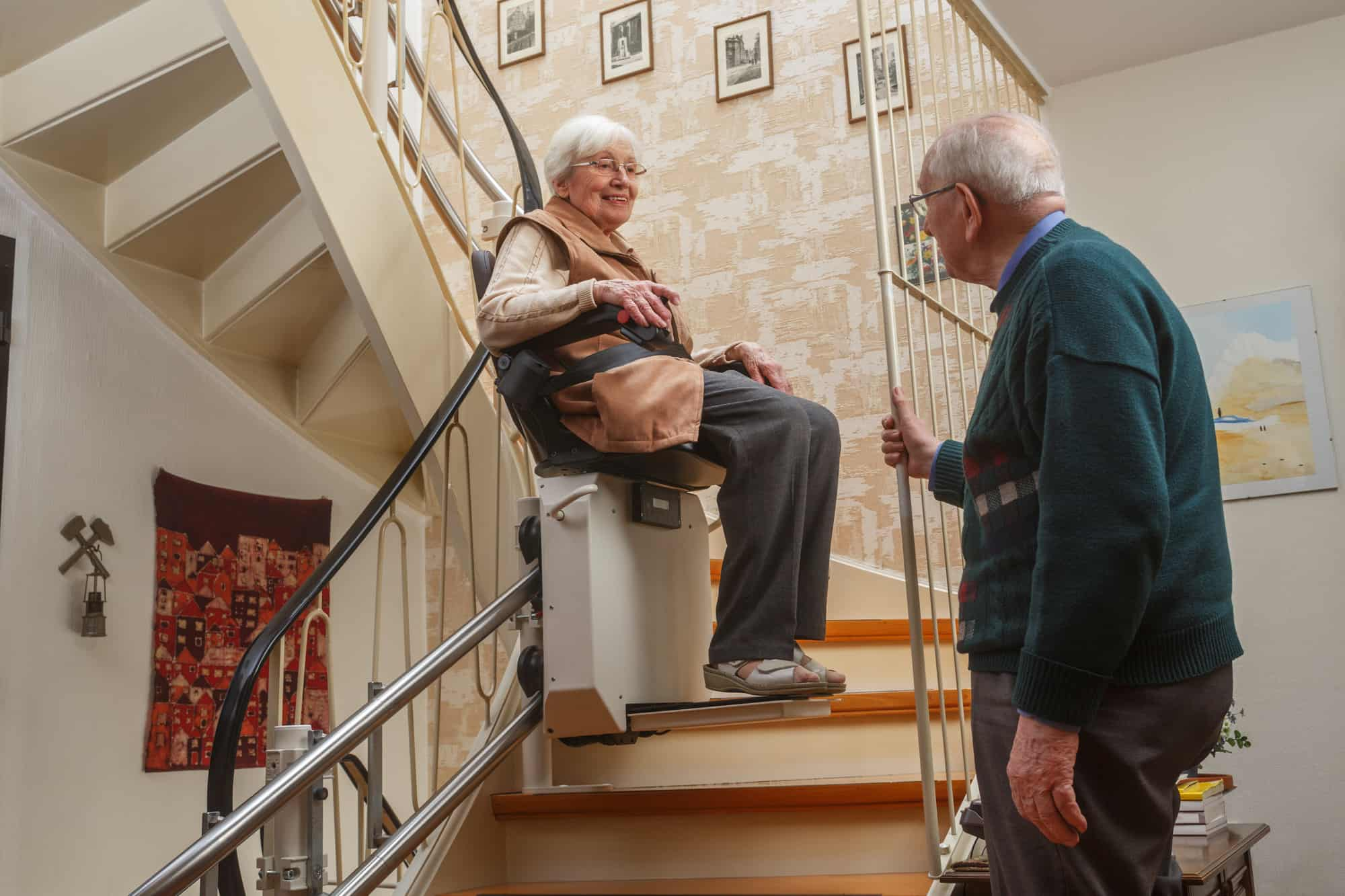 Stair Lift With Elderly Couple